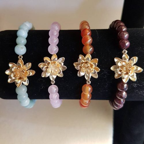 Lotus Chakra Bracelets in a variety of healing stones